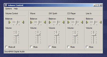 Graphic of master volume control