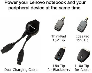 Power your Lenovo notebook and your peripheral device at the same time
