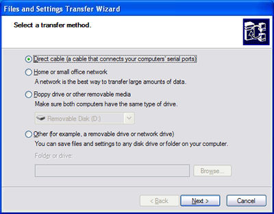 Direct cable transfer method