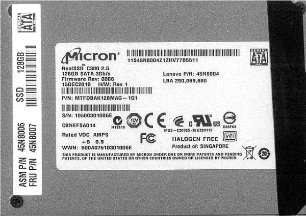 ThinkPads shipped with Micron C300 128GB SSD