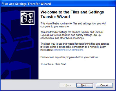 Welcome to the Files and Settings Transfer Wizard