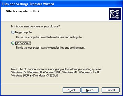 Transfer files and settings from the old computer