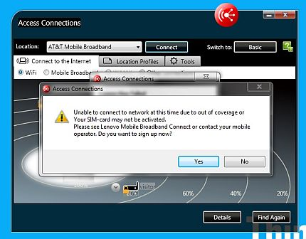 Unable to connect error message