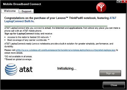 Mobile Broadband Connect initialize window