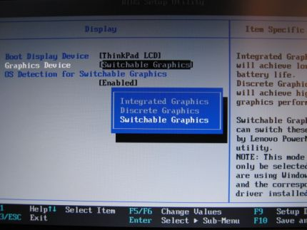 BIOS value 2 for switchable system