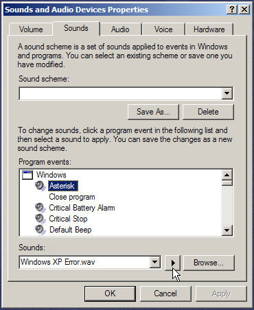 Graphic of sounds and audio devices properties dialog box