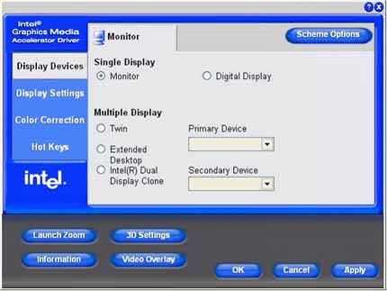 Intel Graphics Media Accelerator driver with Extended Desktop option