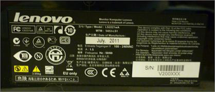 lenovo monitor label rear
