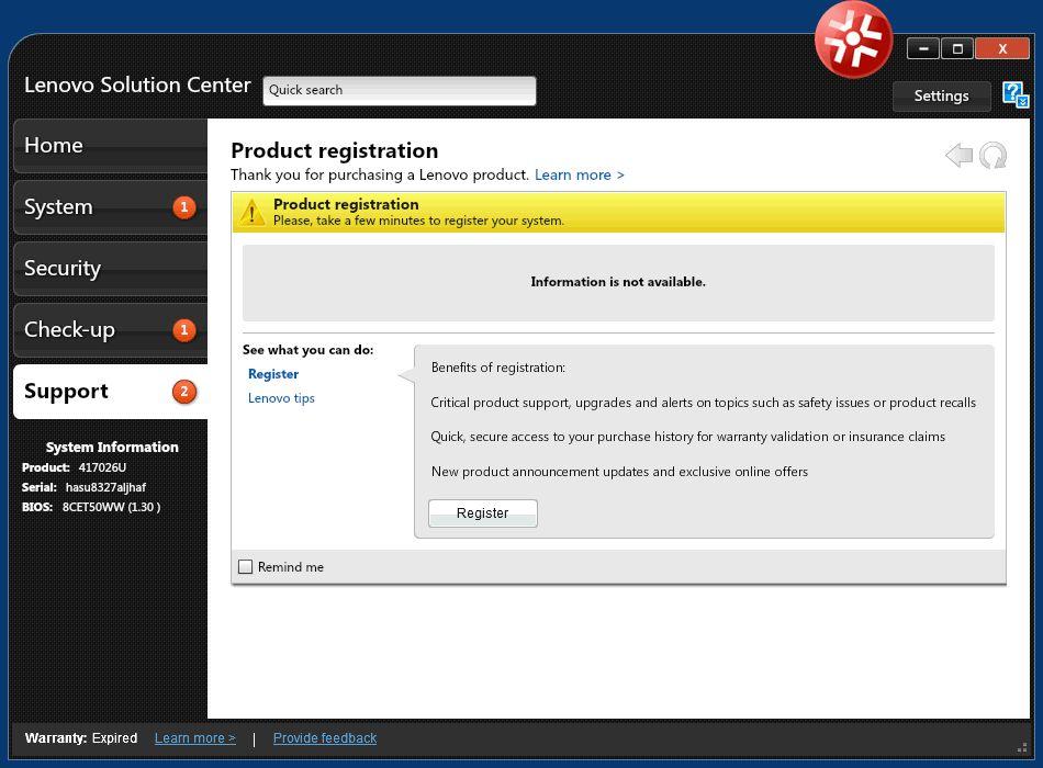 Lenovo system support