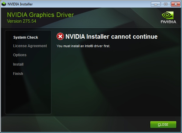 nVidia installation error message