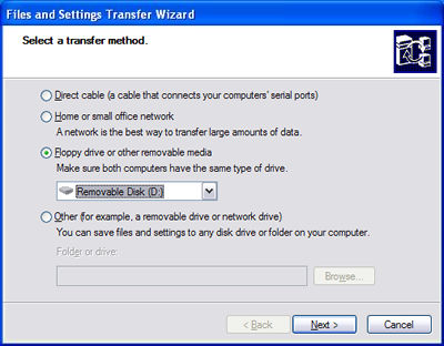 Floppy disk transfer method