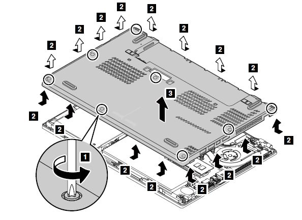 Removal steps of the base cover assembly - ThinkPad X260 - US
