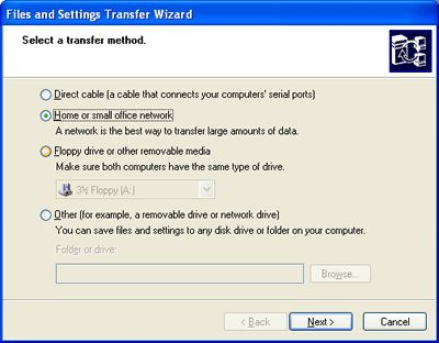 Select home or small office network transfer method