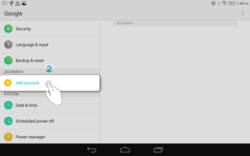 how to add tablet device to google account