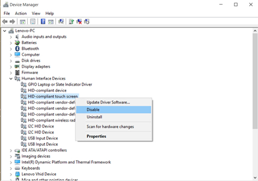 To Enable Or Disable Touch Screen From Windows 8 Windows