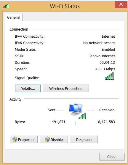 WIFI status in Windows 8.1